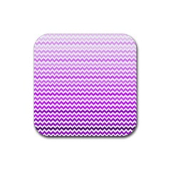 Purple Gradient Chevron Rubber Square Coaster (4 Pack)  by CraftyLittleNodes