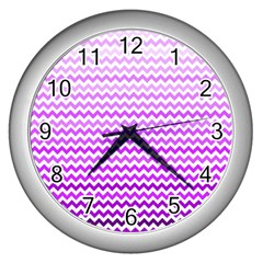 Purple Gradient Chevron Wall Clocks (silver)  by CraftyLittleNodes