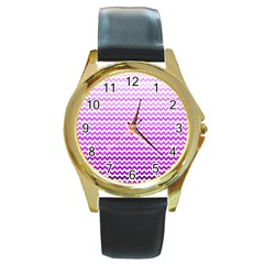 Purple Gradient Chevron Round Gold Metal Watches by CraftyLittleNodes