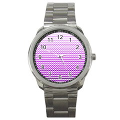 Purple Gradient Chevron Sport Metal Watches by CraftyLittleNodes