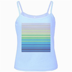 Pastel Gradient Rainbow Chevron Baby Blue Spaghetti Tanks by CraftyLittleNodes