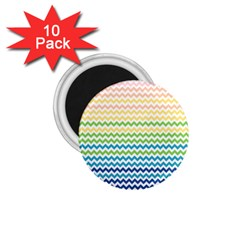 Pastel Gradient Rainbow Chevron 1 75  Magnets (10 Pack)  by CraftyLittleNodes