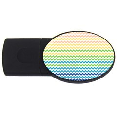Pastel Gradient Rainbow Chevron Usb Flash Drive Oval (2 Gb)