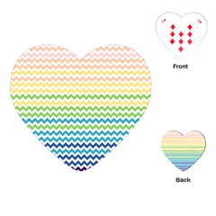 Pastel Gradient Rainbow Chevron Playing Cards (heart)