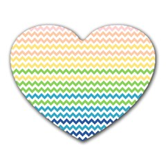 Pastel Gradient Rainbow Chevron Heart Mousepads