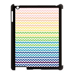 Pastel Gradient Rainbow Chevron Apple Ipad 3/4 Case (black) by CraftyLittleNodes