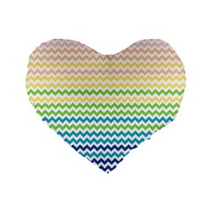 Pastel Gradient Rainbow Chevron Standard 16  Premium Heart Shape Cushions by CraftyLittleNodes