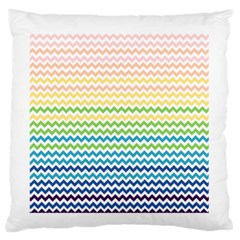 Pastel Gradient Rainbow Chevron Large Flano Cushion Cases (two Sides)