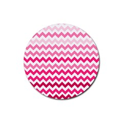 Pink Gradient Chevron Large Rubber Coaster (round)  by CraftyLittleNodes