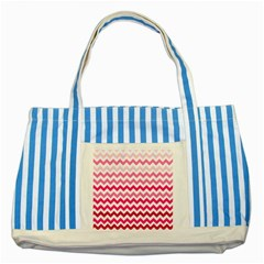 Pink Gradient Chevron Large Striped Blue Tote Bag