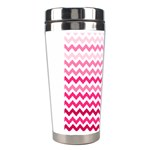Pink Gradient Chevron Large Stainless Steel Travel Tumblers Left