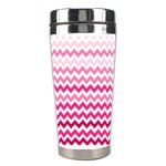 Pink Gradient Chevron Large Stainless Steel Travel Tumblers Center