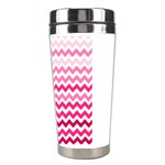 Pink Gradient Chevron Large Stainless Steel Travel Tumblers Right