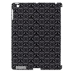 Silver Damask With Black Background Apple Ipad 3/4 Hardshell Case (compatible With Smart Cover)
