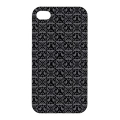 Silver Damask With Black Background Apple Iphone 4/4s Premium Hardshell Case by CraftyLittleNodes