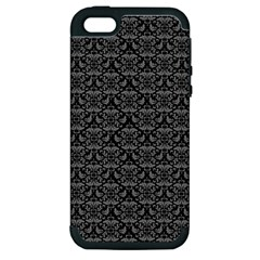 Silver Damask With Black Background Apple Iphone 5 Hardshell Case (pc+silicone) by CraftyLittleNodes