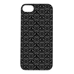 Silver Damask With Black Background Apple Iphone 5s Hardshell Case by CraftyLittleNodes