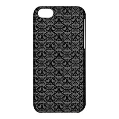 Silver Damask With Black Background Apple Iphone 5c Hardshell Case by CraftyLittleNodes