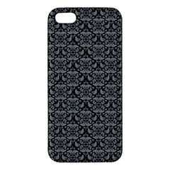 Silver Damask With Black Background Iphone 5s Premium Hardshell Case by CraftyLittleNodes