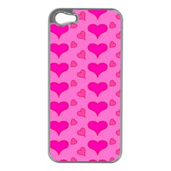 Hearts Pink Apple Iphone 5 Case (silver) by MoreColorsinLife