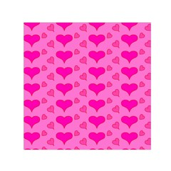 Hearts Pink Small Satin Scarf (square)
