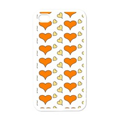 Hearts Orange Apple Iphone 4 Case (white) by MoreColorsinLife