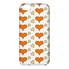 Hearts Orange Apple Iphone 5c Hardshell Case by MoreColorsinLife