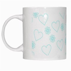 Flowers And Hearts White Mugs