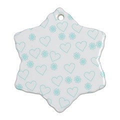 Flowers And Hearts Snowflake Ornament (2 Side)