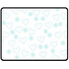 Flowers And Hearts Double Sided Fleece Blanket (medium)