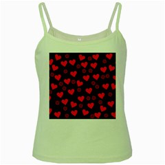 Flowers And Hearts Green Spaghetti Tanks by MoreColorsinLife