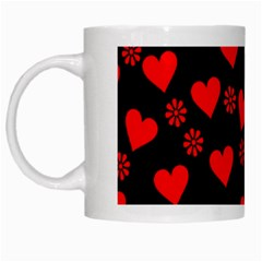Flowers And Hearts White Mugs by MoreColorsinLife