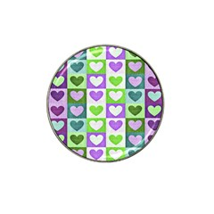 Hearts Plaid Purple Hat Clip Ball Marker by MoreColorsinLife