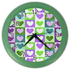Hearts Plaid Purple Color Wall Clocks by MoreColorsinLife