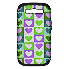 Hearts Plaid Purple Samsung Galaxy S Iii Hardshell Case (pc+silicone) by MoreColorsinLife