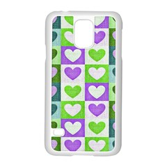 Hearts Plaid Purple Samsung Galaxy S5 Case (white) by MoreColorsinLife