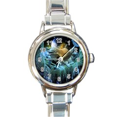 Funny Dolphin In The Universe Round Italian Charm Watches