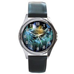 Funny Dolphin In The Universe Round Metal Watches