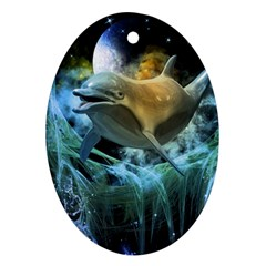 Funny Dolphin In The Universe Ornament (oval)