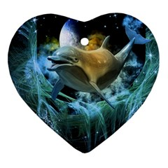 Funny Dolphin In The Universe Ornament (heart)