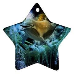 Funny Dolphin In The Universe Ornament (star)