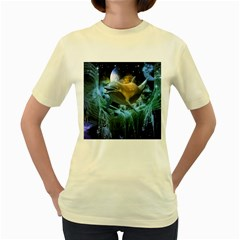 Funny Dolphin In The Universe Women s Yellow T-shirt