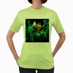 Funny Dolphin In The Universe Women s Green T-shirt