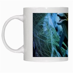 Funny Dolphin In The Universe White Mugs