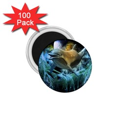 Funny Dolphin In The Universe 1 75  Magnets (100 Pack)
