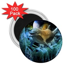 Funny Dolphin In The Universe 2 25  Magnets (100 Pack)