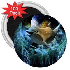Funny Dolphin In The Universe 3  Magnets (100 Pack)