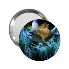 Funny Dolphin In The Universe 2 25  Handbag Mirrors