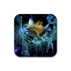 Funny Dolphin In The Universe Rubber Square Coaster (4 Pack)