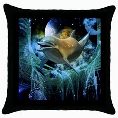 Funny Dolphin In The Universe Throw Pillow Cases (black)